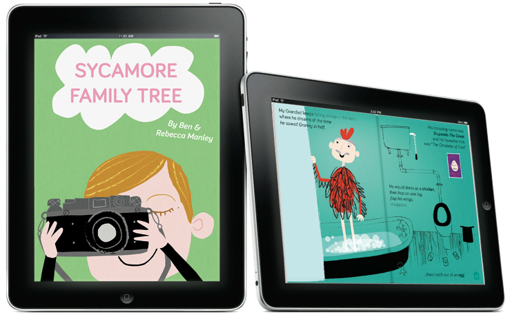 Image: Two iPads featuring images from the book: one depicts a girl holding up a camera as if to take a picture of the reader, the other is of an old man in a chicken costume.